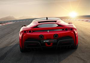 Wallpapers Ferrari Back view Red Stradale SF90 Cars pictures images