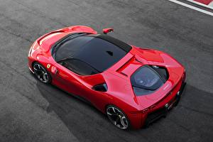 Desktop hintergrundbilder Ferrari Rot Von oben Stradale SF90 auto