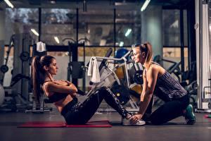Desktop hintergrundbilder Fitness Fitnessstudio Trainieren 2 ABS Sport Mädchens