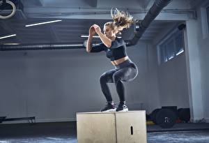 Photo Fitness Gym Physical exercise Jump Sport Girls