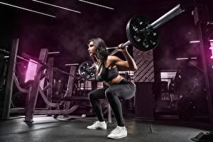 Bilder Fitness Turnhalle Trainieren Pose Hantelstange Kauert Mädchens