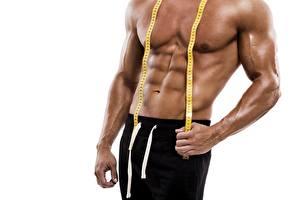 Bilder Fitness Mann Bauch Muskeln Messband Weißer hintergrund Hand sportliches