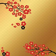 Wallpapers Flowering trees Painting Art Branches Foliage Template greeting card Nature