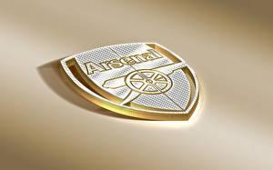 Hintergrundbilder Fußball England Logo Emblem Farbigen hintergrund Arsenal FC Sport 3D-Grafik