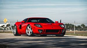 Wallpaper Ford Red Metallic GT, Sport Car automobile