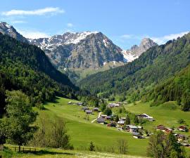Fotos Frankreich Berg Gebäude Wälder Grünland Haute Savoie