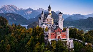 Wallpapers Germany Castle Mountain Neuschwanstein Bavaria Trees Alps Towers Nature