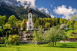 Photo Germany Mountains Church Scenery Bavaria Alps Clouds Trees Garmisch-Partenkirchen Nature