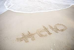 Fotos & Bilder Sand Wort Englisch Hello Natur