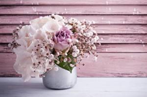 Desktop hintergrundbilder Hortensien Sträuße Vase Blumen