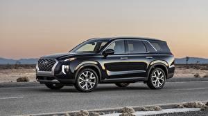 Bilder Hyundai Crossover Schwarz Metallisch Seitlich Palisade Autos