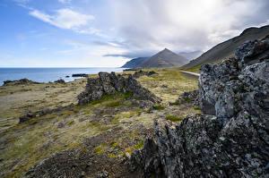 Papéis de parede Islândia Costa Montanhas Rocha Naturaleza imagens