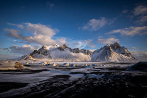 Bilder Island Berg Wolke Hofn, Vestrahorn Natur