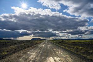 壁紙,冰岛,道路,天空,云,地平線,大自然,