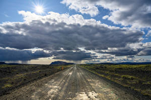 Tapety na pulpit Islandia Drogi Niebo Chmury Horyzont