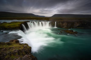 Images Iceland Waterfalls Mountain Godafoss, Nordjurland-ejstra Nature