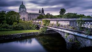 Hintergrundbilder Irland Flusse Brücken Kathedrale Galway Cathedral Städte