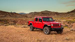 Bilder Jeep Rot Metallisch Pick-up SUV Gladiator Rubicon, 2019 Autos