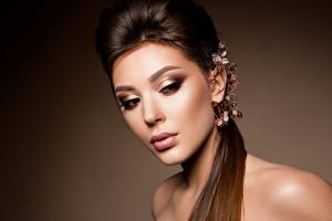 Pictures Jewelry Model Beautiful Makeup Hairstyle Face young woman