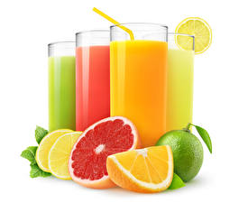 Wallpapers Juice Citrus Lime Grapefruit Orange fruit Lemons White background Highball glass Food