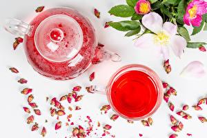 Fotos Pfeifkessel Tee Rose Becher Blütenknospe das Essen Blumen