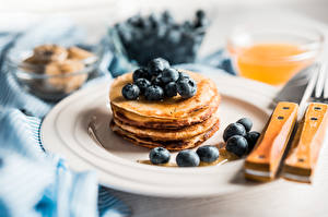 Picture Knife Pancake Blueberries Berry Plate Blurred background