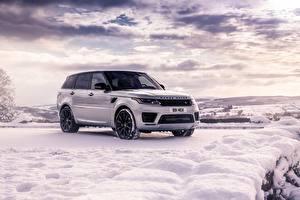 Fotos Land Rover Weiß SUV Schnee Range Rover Sport HST automobil