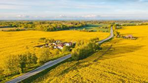 Wallpapers Lithuania Fields Roads From above  Nature