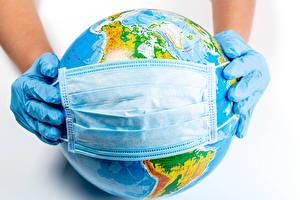 Images Masks Coronavirus White background Globe Hands Glove