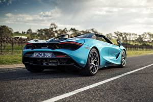 Desktop wallpapers McLaren Light Blue Metallic Back view Spider, 720S, 2019 automobile