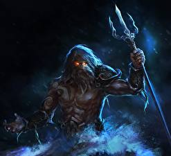 Pictures Man Warriors Trident Poseidon, god of the seas