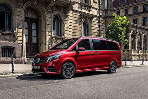 Desktop hintergrundbilder Mercedes-Benz Rot Ein Van 2019 V 300 d 4MATIC AMG Line Worldwide Autos