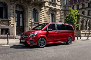 Fotos Mercedes-Benz Rot Ein Van 2019 V 300 d 4MATIC AMG Line Worldwide