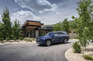 Papéis de parede Mercedes-Benz Azul Metálico 2020 GLS 450 4MATIC Carros imagens