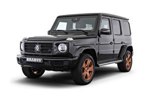 Hintergrundbilder Mercedes-Benz G-Modell Weißer hintergrund Sport Utility Vehicle Graue 2020 Brabus Invicto VR6 Plus ERV Pure auto
