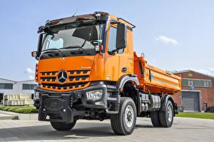 Hintergrundbilder Mercedes-Benz Lastkraftwagen Orange 2013-20 Arocs 2135 AK Meiller Dreiseitenkipper Typ 9 Kommunalfahrzeug Autos