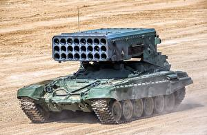 Wallpaper Military vehicle Russian BM-1 TOS-1A automobile