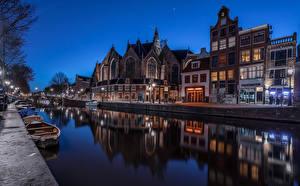 Bilder Niederlande Amsterdam Haus Boot Kanal Nacht Städte