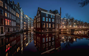 Wallpaper Netherlands Amsterdam Houses Canal Night time