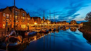 Wallpapers Netherlands Boats Night time Waterfront Canal Willemstad, Curacao Cities