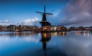 Hintergrundbilder Niederlande Abend Gebäude Mühle Bucht Papentorenvest, Haarlem