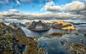 桌面壁纸,,挪威,罗弗敦群岛,山,天空,云,從上面,海灣,