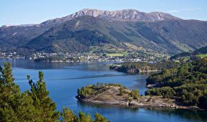 Fotos & Bilder Norwegen Gebirge Haus Bucht Dorf Uskedal Natur
