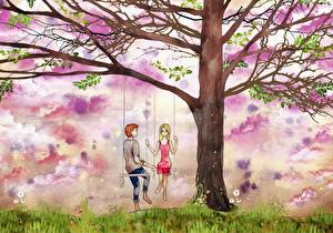 Wallpapers Painting Art Couples in love Trees Swing Young man Nature Girls