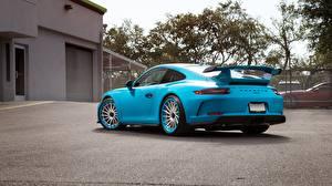 Hintergrundbilder Porsche Hellblau Metallisch Coupe Hinten 911 GT3 automobil