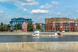 Hintergrundbilder Fluss Moskau Binnenschiff Russland Städte