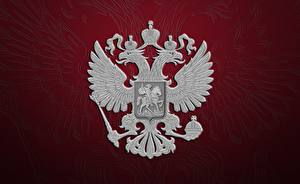 Pictures Russia Double-headed eagle Coat of arms Russian Red background