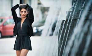 Fotos & Bilder Brünette Kleid Pose Hand Blick Bokeh Sabrina Mädchens