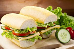 Bakgrundsbilder på skrivbordet Sandwich Bröd Grönsaker Närbild Två 2 Mat