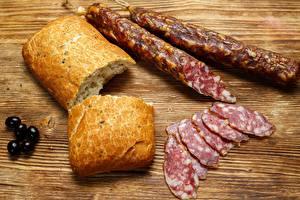 Wallpapers Sausage Bread Sliced food Food